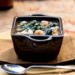 Sweet Potato and White Bean Soup with Sage-Walnut Pesto recipe