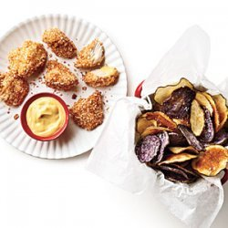 Chicken Nuggets with Crispy Potato Chips and Honey Mustard recipe