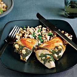 Chicken Stuffed with Spinach, Feta, and Pine Nuts recipe