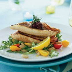 Red Snapper Fillets on Garlic Toasts with Arugula White-bean Salad recipe