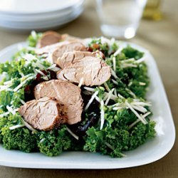 Mustard Greens Salad with Pork and Asian Pear recipe