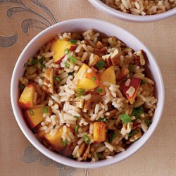 Sweet Tea Rice with Jalapeño, Peaches, and Pecans recipe