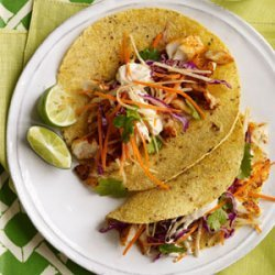 Fish Tacos with Cabbage-Carrot Slaw and Spicy Crema recipe