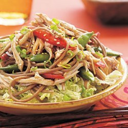 Asian Chicken, Noodle, and Snap Pea Salad recipe