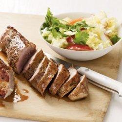 Pork Tenderloin with Cabbage and Apple Slaw recipe