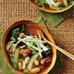 Escarole, Bean, and Sausage Soup with Parmesan Cheese recipe