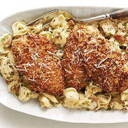 Pecan-Crusted Chicken and Tortellini with Herbed Butter Sauce recipe