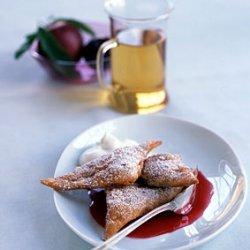 Fried Plum Ravioli with Mint Cream recipe