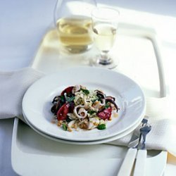 Grilled Squid and Plum Salad with Cilantro, Mint, and Peanuts recipe