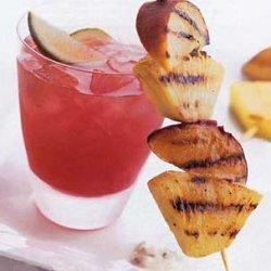 Skewered Grilled Fruit with Minted Yogurt Honey Sauce recipe