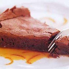 Chocolate Soufflé Cake with Orange Caramel Sauce recipe
