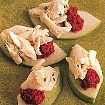 Crab Meat and Beet Purée on Granny Smith Apple recipe
