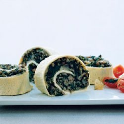 Egg Roulade Stuffed with Turkey Sausage, Mushrooms, and Spinach recipe