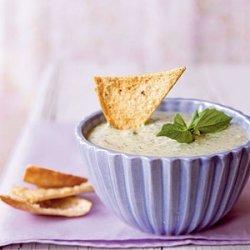 Basil Parmesan Dip with Pita Chips recipe