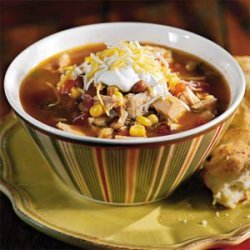 Fiesta Turkey Soup With Green Chile Biscuits recipe