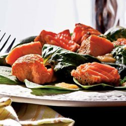 Grilled Salmon and Spinach Salad with Peach Dressing recipe