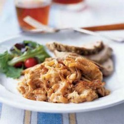 Roast Pork Loin with Savory Fennel Bread Pudding recipe