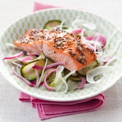Maple-Glazed Salmon with Pickled Cucumber recipe