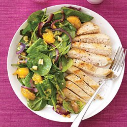 Wilted Spinach Salad with Chicken and Mandarin Oranges recipe