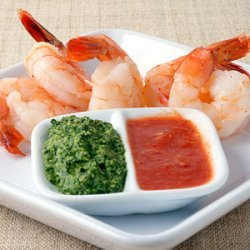 Classic Shrimp Cocktail with Red and Green Sauces recipe