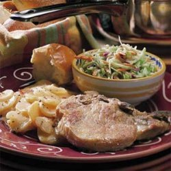 Easy Scalloped Potatoes and Chops recipe
