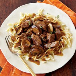 Steak Tips with Peppered Mushroom Gravy recipe
