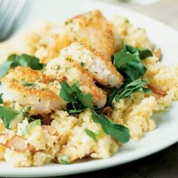 Crunchy Shrimp with Toasted Couscous and Ginger-Orange Sauce recipe