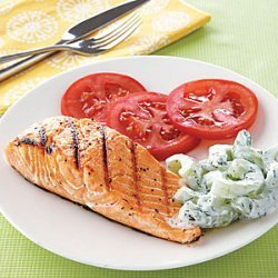 Grilled Salmon with Cucumber-Yogurt Salad recipe