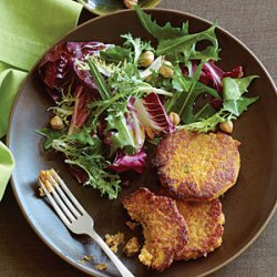 Squash and Chickpea Fritters with Winter Greens and Hazelnut Salad recipe