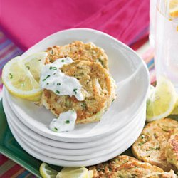 Mini Crab Cakes With Garlic-Chive Sauce recipe