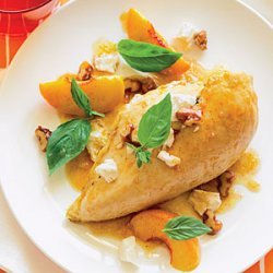 Rotisserie Chicken with Peaches, Walnuts, and Basil recipe