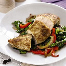 Spiced Chicken with Sauteed Collards and Peppers recipe