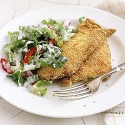 Crispy Chicken Cutlets with Creamy Romaine Salad recipe