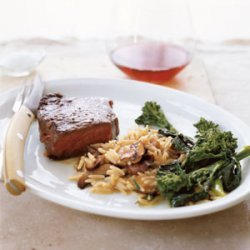 Steak with Quick Mushroom  Risotto  recipe