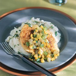 Pan-Fried Cornmeal Chicken with Corn and Onions recipe
