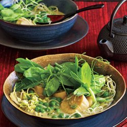 Coconut Noodles with Scallops and Pea Tendrils recipe