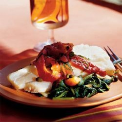 Poached Cod with Roasted Peppers, Capers, and Spinach recipe
