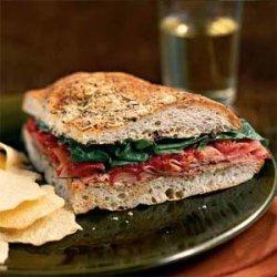 Ham and Spinach Focaccia Sandwiches recipe