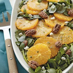 Spiced Orange Salad with Goat Cheese and Glazed Pecans recipe