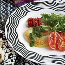 Pan-Fried Scamorza with Arugula Salad and Two Pestos recipe