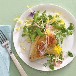 Sugar Snap Pea Saute With Free-Range Chicken Breasts recipe