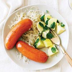 Wine-Glazed Sausages with Watercress Potatoes and Sauerkraut recipe