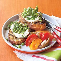 Grilled Bruschetta with Ricotta and Edamame recipe