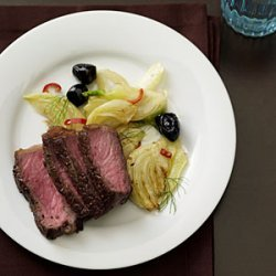 Steak with Sauteed Fennel and Olives recipe