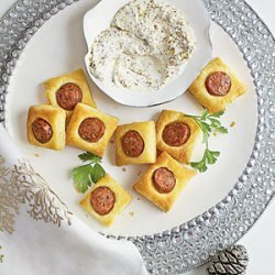 Chicken Sausage Puffs with Creamy Mustard Dipping Sauce recipe