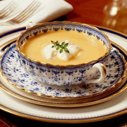 Sweet Potato Soup with Rum Cream recipe