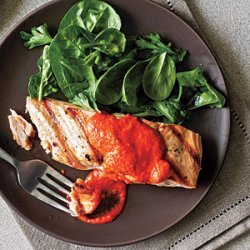 Salmon with Red Pepper Pesto recipe