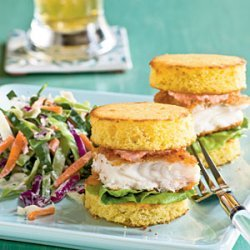 Fish Sliders on Cornbread Rounds with Red Pepper Mayonnaise recipe