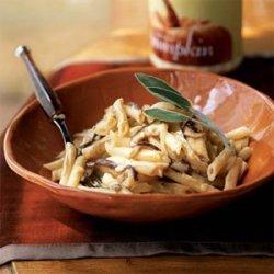 Pasta with Mushrooms and Pumpkin-Gorgonzola Sauce recipe