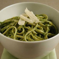 Pasta with Basil, Arugula, and Walnut Pesto recipe